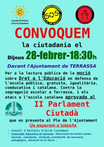 Lectura Pública de la Moció sobre el Dret a l'Educació