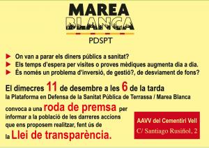 Roda de Premsa Marea Blanca / PDSPT